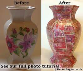 Decoupage before and after